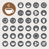 Fototapety Coffee cup and Tea cup icon set.