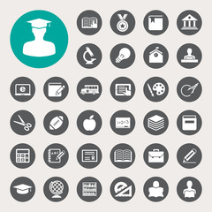 Education icons set. Illustration