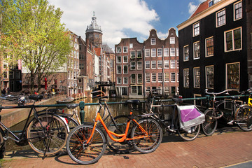 Amsterdam city with bikes on the bridge, Holland