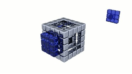 3D Cubes - Assembling Parts - Blue