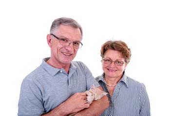 Senioren mit Katze