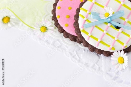 canvas print picture Cookies with daisies