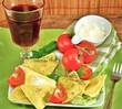 Pasta und Rotwein