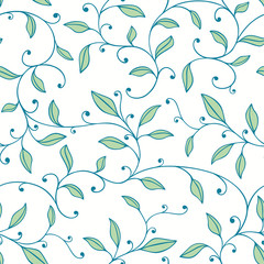 Seamless Floral Pattern with Swirly Garlands of Leaves
