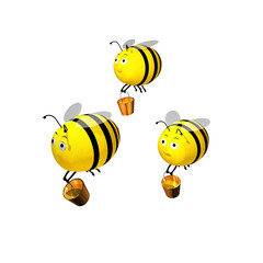 3d rendered  Bees team
