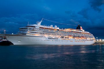 Cruise ship in venice at night
