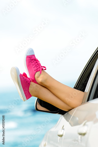Summer vacation in car concept