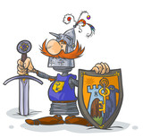 Cartoon Knight. with Coat of arms in separate layer.