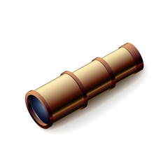 Vintage spyglass, closeup isolated on white, vector illustration