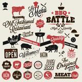 Big set of Vintage BBQ Grill elements