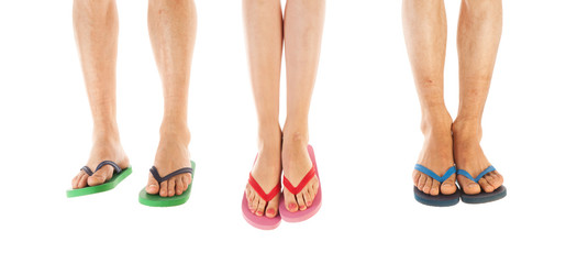 Feet in summer flip flops