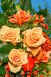 Herbstlich farbenfroher Blumenstrauß, Rosen, Floristik