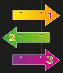 3 frecce in differenti colori e spazio per il testo