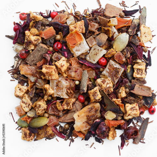 Christmas tea  with dried fuit and spice