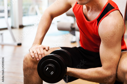 Bodybuilder working out