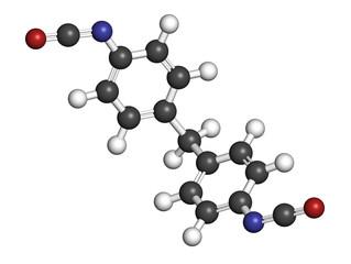 Methylene diphenyl diisocyanate molecule (MDI), polyurethane (PU