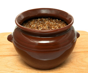 buckwheat in ceramic pot