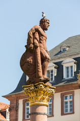 Statue of Hercules in market square Heidelberg Germany