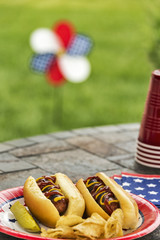 All American hotdogs at a cookout