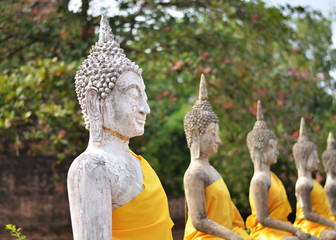Ancient Buddha statues at Wat Yai Chai Mongkol, Ayutthaya, Thail