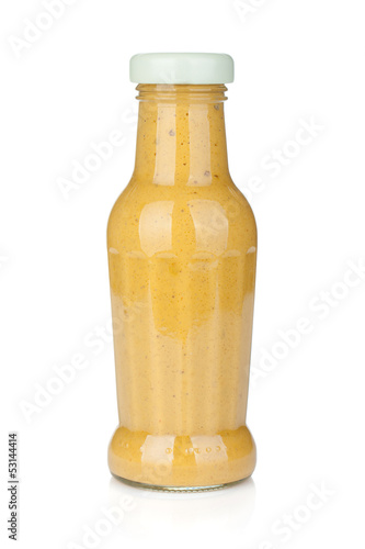 Mustard glass bottle