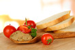 Composition of fresh pate, tomatoes and bread,