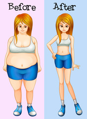 A transformation from a fat into a slim lady