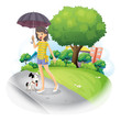 A lady holding an umbrella with a dog along the road