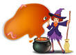 A witch holding a broom with a pot