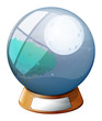 A crystal ball with an image of a full moon