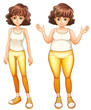 A fat and a slim lady in their yellow pants