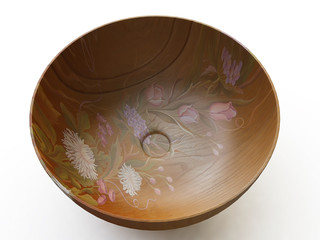Decorated Wooden Bowl in 3d