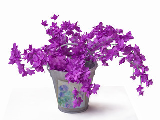 3d Violet Flowers in Decorated Bucket
