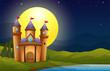 A castle in a full moon scenery