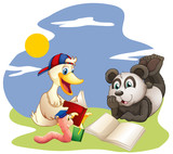 A panda, a duck and a worm reading