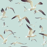 seamless texture with a flock of seagulls flying 2