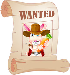 A poster of a wanted bunny