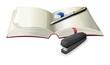 An open notebook with a stapler, a pen and an eraser