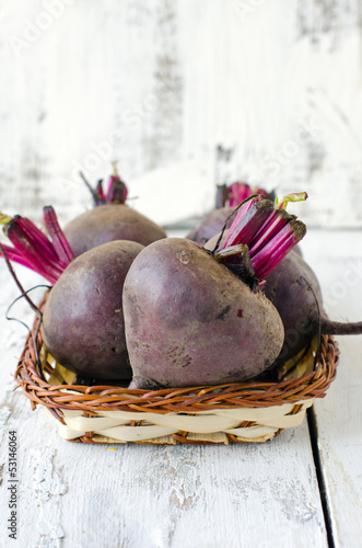 Fresh beets in a basket