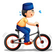 A boy biking