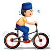 A boy biking