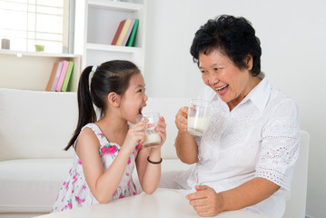 Drinking milk at home