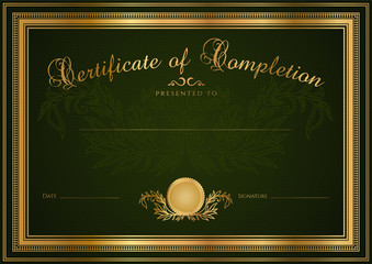 Green Certificate / Diploma template. Background design. Border
