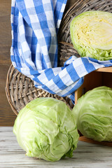 Cabbage on table on wooden background