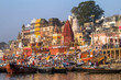 VARANASI, INDIA - 23 MARCH: Ghats on the banks of Ganges river i