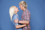 couple hugging casual wear young
