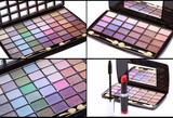 collage, Multicolored eye shadows palette, red Lipstick and blac