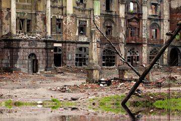 Destroyed building after War