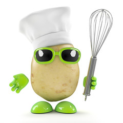 3d Potato chef with whisk