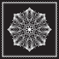 White lace, round snowflake pattern isolated on black